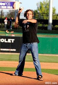 Urijah Faber throwing first pitch in A's game