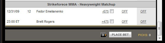 The Fedor/Rogers bettings odds are out and…wow