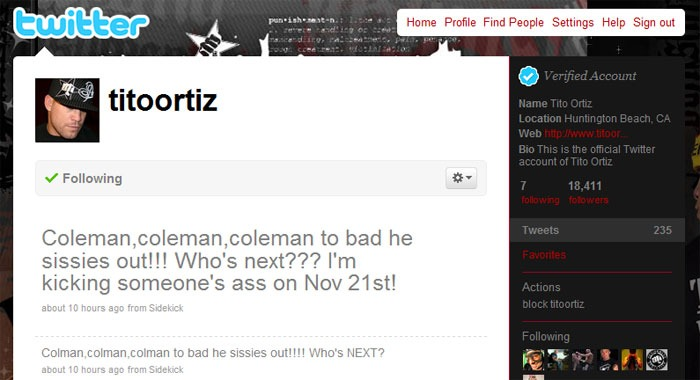 Mark Coleman dips out of his fight with Tito Ortiz