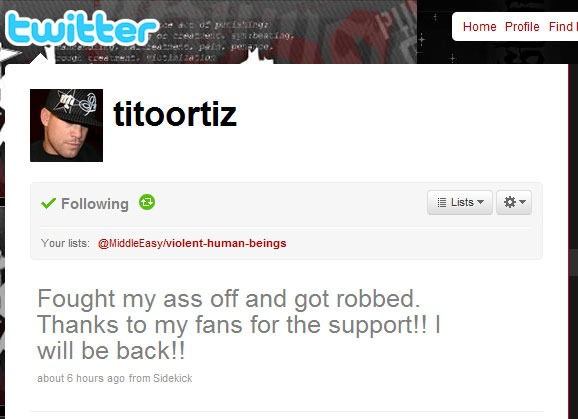 Tito Ortiz says he was robbed