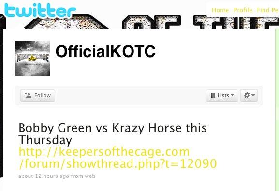 Krazy Horse vs. Bobby Green going down at KOTC