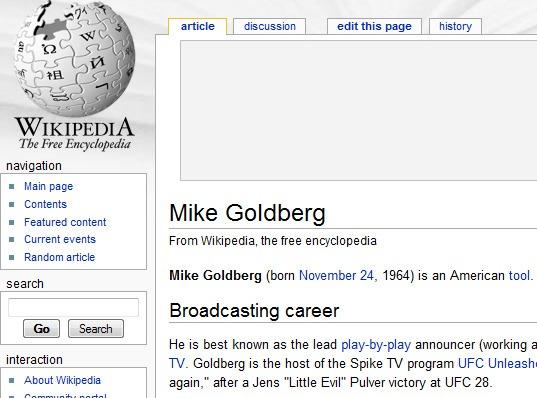 According to Wikipedia, Mike Goldberg is an American Tool