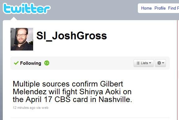 Shinya Aoki vs. Gilbert Melendez slated for April 17th in Nashville