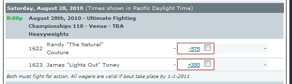 The odds are finally out for James Toney vs. Randy Couture…