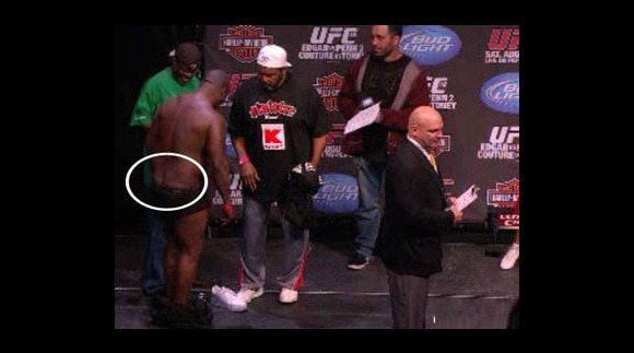 So James Toney's rear-end was showing at the UFC 118 weigh-ins and the ring girls noticed…