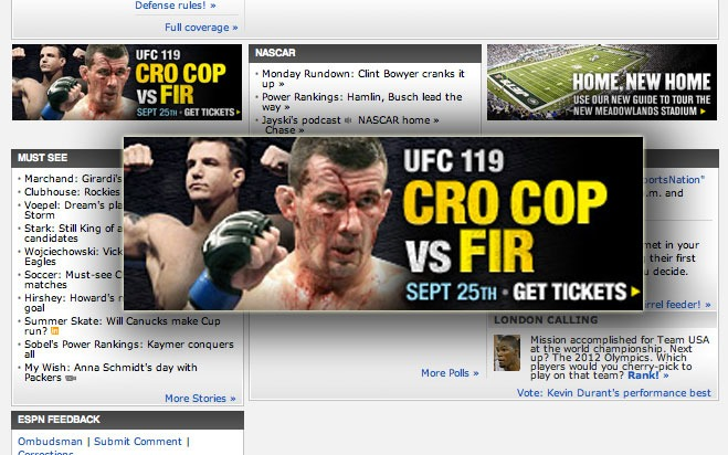 ESPN and Stubhub really want you to watch Frank 'Fir' vs. Anthony Perosh at UFC 119