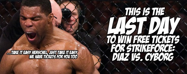 Today is the LAST day to win FREE tickets for Strikeforce: Diaz vs. Cyborg