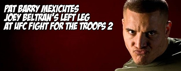 Pat Barry mexicutes Joey Beltran's left leg at UFC Fight for the Troops 2