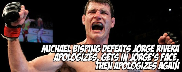 Michael Bisping defeats Jorge Rivera, apologizes, gets in Jorge's face, then apologizes again