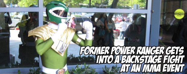 Former Power Ranger gets into a backstage fight at an MMA event
