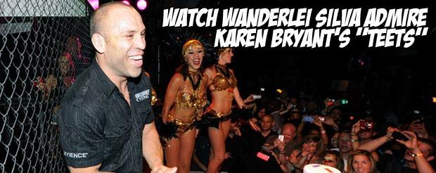 "Watch Wanderlei Silva admire Karen Bryant's ""teets"""