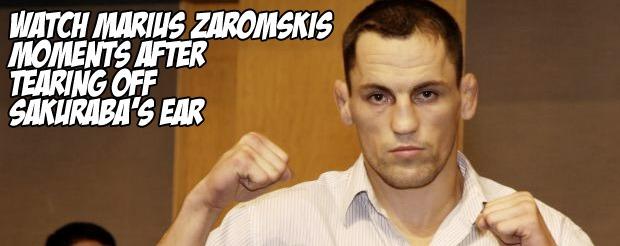 Watch Marius Zaromskis moments after tearing off Sakuraba's ear