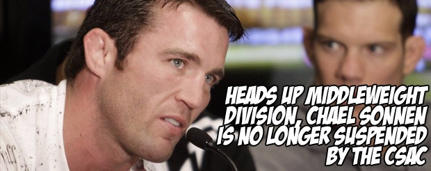 Heads up middleweight division, Chael Sonnen is no longer suspended by the CSAC