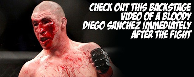 Check out this backstage video of a bloody Diego Sanchez immediately after the fight