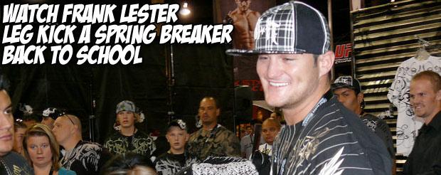 Watch Frank Lester leg kick a spring breaker back to school