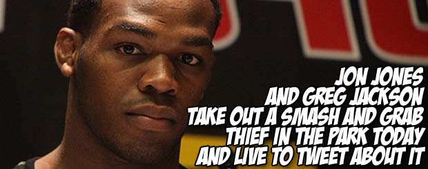 Jon Jones and Greg Jackson take out a thief in the park today and live to tweet about it