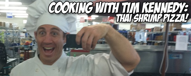 Cooking with Tim Kennedy: Thai shrimp pizza!