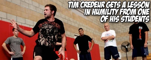 Tim Credeur gets a lesson in humility from one of his students