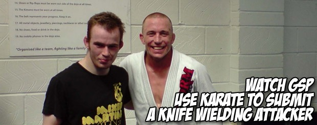 Watch GSP use karate to submit a knife wielding attacker in Toronto