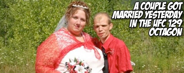 A couple got married yesterday in the UFC 129 Octagon