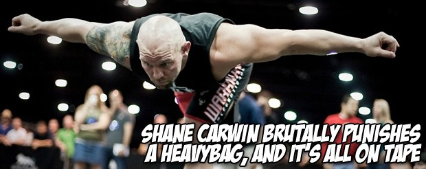 Shane Carwin brutally punishes a heavybag, and it's all on tape