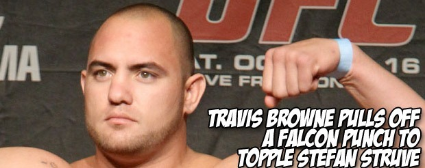 Travis Browne pulls off a Falcon punch to topple Stefan Struve