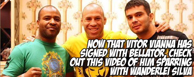 Now that Vitor Vianna has signed with Bellator, check out this video of him sparring with Wanderlei Silva