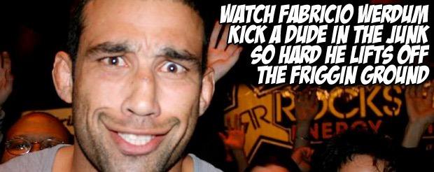 Watch Fabricio Werdum kick a dude in the junk so hard he lifts off the friggin ground