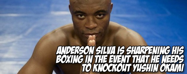 Anderson Silva is sharpening his boxing in the event that he needs to knockout Yushin Okami