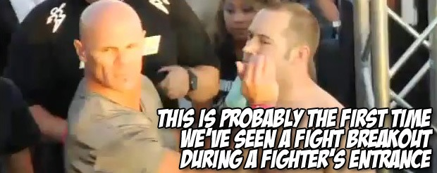 This is probably the first time we've seen a fight breakout DURING a fighter's entrance