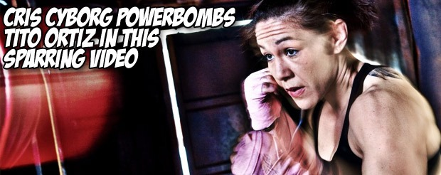 Cris Cyborg powerbombs Tito Ortiz in this sparring video