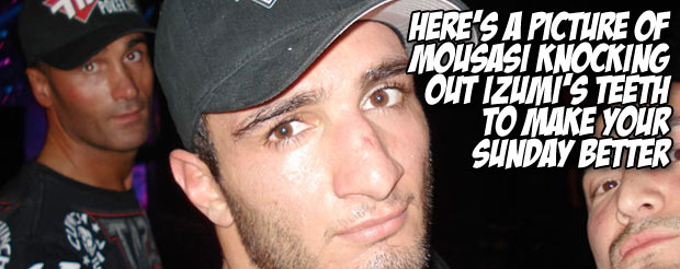 Here's a picture of Mousasi knocking out Izumi's teeth to make your Sunday better