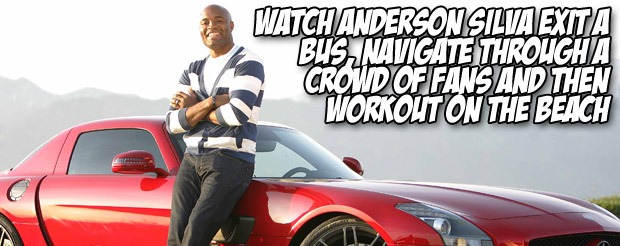 Watch Anderson Silva exit a bus, navigate through a crowd of fans and then workout on the beach