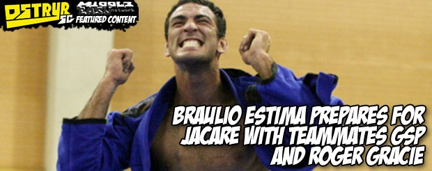 Braulio Estima prepares for Jacare with teammates GSP and Roger Gracie