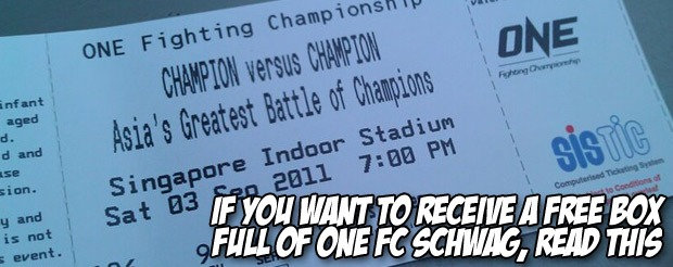 If you want to receive a FREE box full of One FC schwag, read this