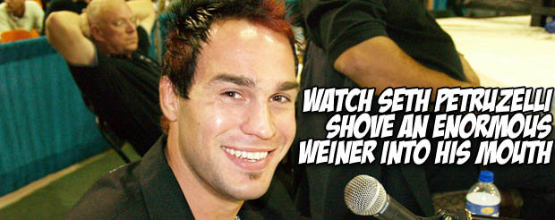 Watch Seth Petruzelli shove an enormous weiner into his mouth