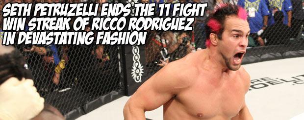 Seth Petruzelli ends the 11 fight win streak of Ricco Rodriguez in devastating fashion
