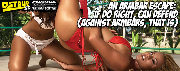 An armbar escape: If do right, can defend (against armbars, that is)