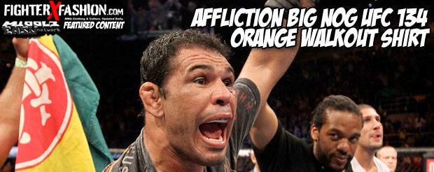 Affliction Big Nog UFC 134 orange walkout shirt