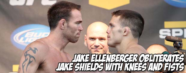 Jake Ellenberger obliterates Jake Shields with knees and fists