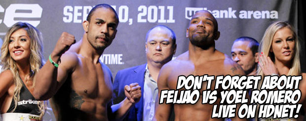 Don't forget about Feijao vs Yoel Romero live on HDNet!