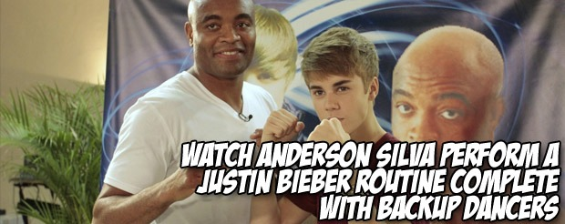 Watch Anderson Silva perform a Justin Bieber routine complete with backup dancers