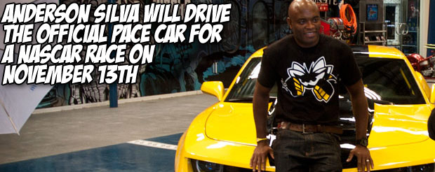 Anderson Silva will drive the official pace car for a NASCAR race on November 13th