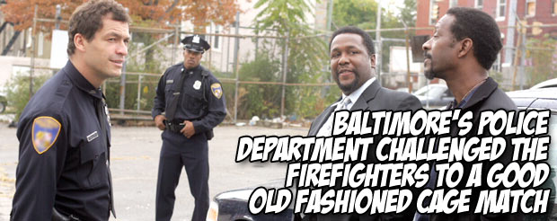 Baltimore's Police Department challenged the Firefighters to a good old fashioned cage match