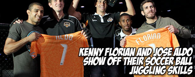 Kenny Florian and Jose Aldo show off their soccer ball juggling skills