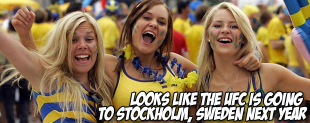 Looks like the UFC is going  to Stockholm, Sweden next year