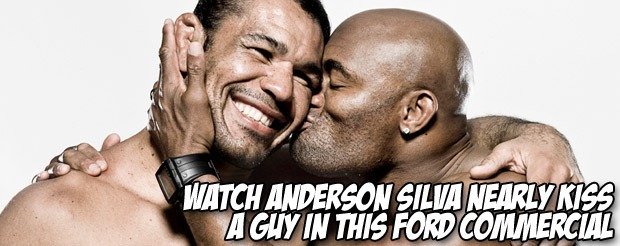 Watch Anderson Silva nearly kiss a guy in this Ford commercial