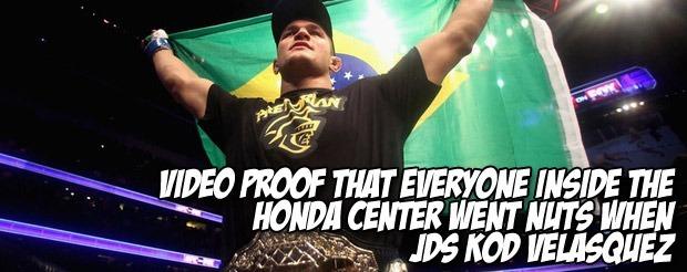 Video proof that everyone inside the Honda Center went nuts when JDS KOd Velasquez