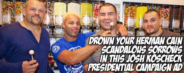 Drown your Herman Cain scandalous sorrows in this Josh Koscheck presidential campaign ad