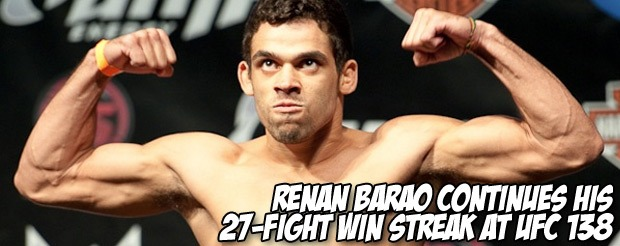 Renan Barao continues his 27-fight win streak at UFC 138